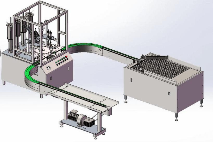 U shape Aerosol Filling Machine with Cruved Conveyor - Jrpacking